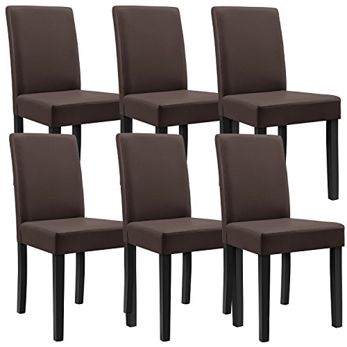 6x [en.casa] Polsterstühle (6 Farben wählbar) (Hochqualitativ) mit Beinen aus Massivholz / Kunstlederbezug / elegant /
