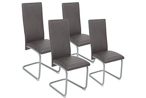 CAVADORE Esszimmerstuhl 4er Set FREDDY/4x moderne Schwingstühle/4 Stück Schwinger mit Bezug Kunstleder GRAU/mit silberfarbenem, pulverbeschichtetem Untergestell/44 x 98,5 x 57 cm (B x H x T)