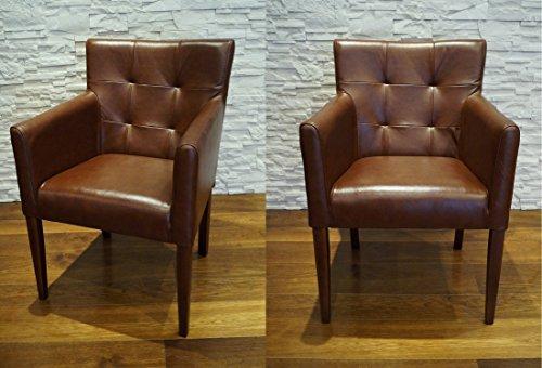 "Breite Echtleder Esszimmerstühle Glanz Braun Leder & Massivholz Stühle ""Kross Arm Pik"" Lederstühle Sessel mit Armlehnen Echt Leder Esszimmer Stuhl"