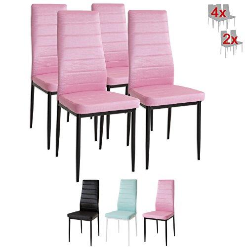 Albatros 3079 CAT 4 x Designer-Stühle rosa Polsterstühle Esszimmerstühle Stuhl SET Leder