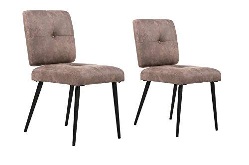 CAVADORE Esszimmerstuhl 2er Set POPPY / 2x Stuhl - Klassiker im Vintage look / Bezug Vintage fabric mokka - hellbraun / Gestell Metall schwarz pulverbeschichtet / 46 x 61,5 x 85 cm (BxHxT)
