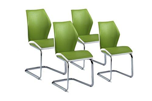Cavadore Schwingstuhl 4-er Set Snap / Freischwinger ohne Armlehne in modernem Design / Lederimitat / Stühle Grün - Weiß / 45 x 61 x 90 cm (B x T x H)