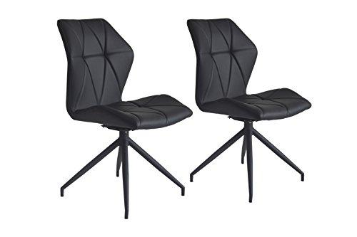 CAVADORE Stuhl 2er Set INDIRA/2x Esszimmerstühle 360° drehbar/2 gepolsterte Stühle in modernem Design/Bezug Kunstleder Schwarz/Gestell Metall pulverbeschichtet Schwarz/52x91x62 cm (BxHxT)