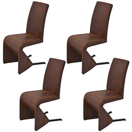 Festnight Ergonomisch Freischwinger Esszimmerstühle 4er-Set Schwingstuhl Essstühle Küchenstuhl Stoff Stahlrahmen 46 x 58 x 97 cm Braun
