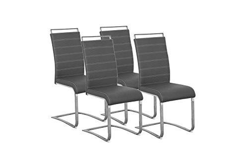 CAVADORE Schwingerstuhl 4-er Set SHERRY / 4x Freischwinger in modernem Design / Bezug Lederimitat Grau mit weißen Nähten / 57 x 43 x 101 cm (T x B x H)