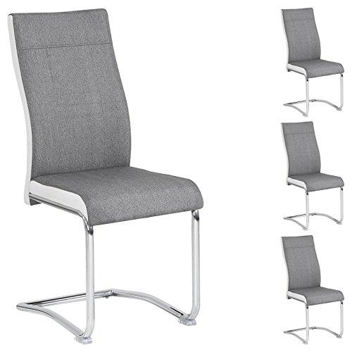 CARO-Möbel 4er Set Esszimmerstuhl Küchenstuhl Schwingstuhl ALBA, Stoffbezug in grau und weiß, Metallgestell in Chrom