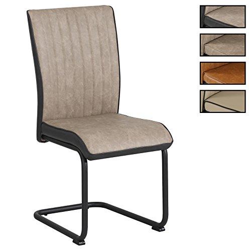 CARO-Möbel 4er Set Esszimmerstuhl Küchenstuhl Schwingstuhl CRUZ, aus Wildlederimitat in 3 Farben, Metallgestell mit Strukturlack in schwarz