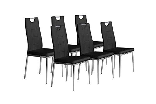 CAVADORE 87230 Stuhl-Set, Lederimitat, schwarz, 52 x 46 x 97 cm