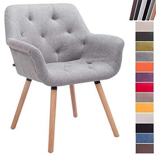 CLP Esszimmerstuhl CASSIDY mit Stoffbezug und sesselförmigem gepolstertem Sitz | Retrostuhl mit Armlehne und einer Sitzhöhe von 45 cm | In verschiedenen Farben erhältlich Grau, Gestellfarbe: Natura