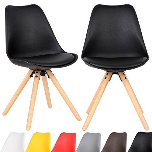 EUGAD 2er Set Esszimmerstühle mit Holzgestell gepolsterte Sitzfläche aus Kunstleder, Design Stuhl Küchenstuhl,#620