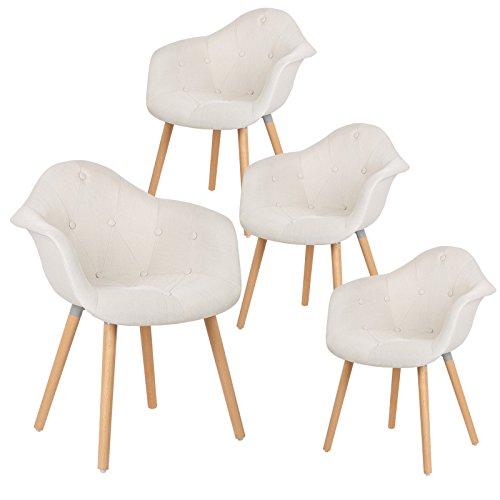 EUGAD 4er Set Esszimmerstühle Küchenstuhl Dick gepolsterte Sitzfläche aus Leinen Design Stuhl mit Arm- und Rücklehne