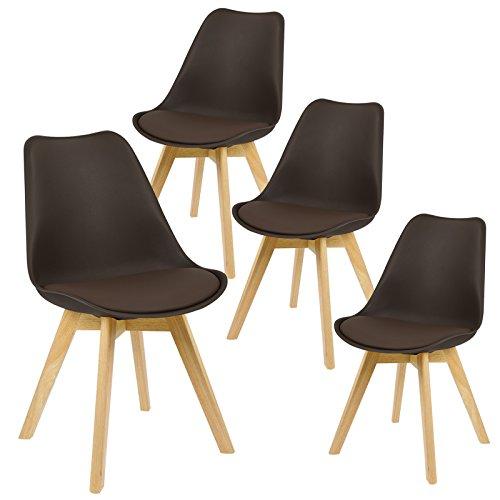 EUGAD 4er Set Esszimmerstühle Stuhlgruppe für Esszimmer Küchenstuhl mit Lehne aus Kunstleder/Leinen Holzgestell