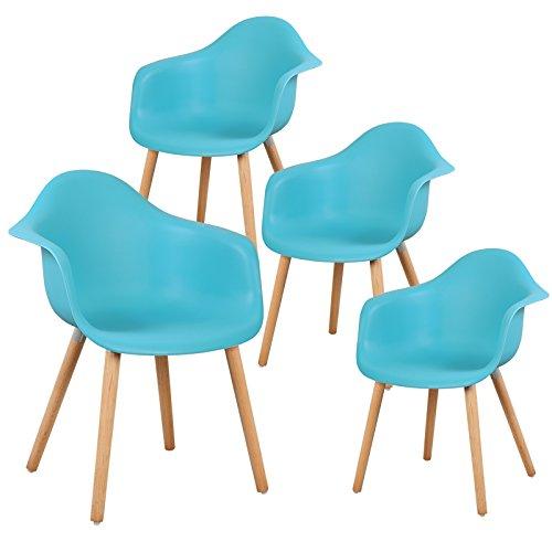 EUGAD 4er Set Esszimmerstühle Wohnzimmerstuhl mit Arm- und Rücklehne aus Kunstleder/Leinen Designerstuhl