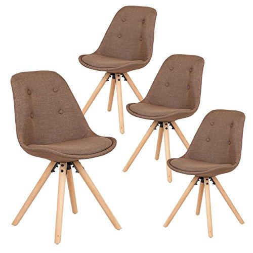 EUGAD 4er Set Esszimmerstühle mit Lehne Küchenstuhl aus Kunstleder / Leinen Massivholz