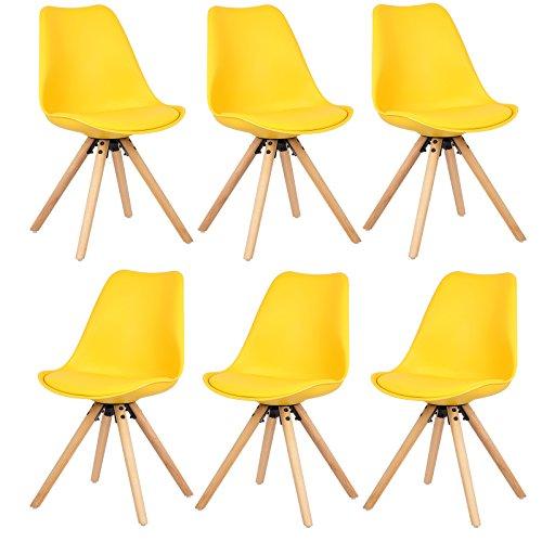 EUGAD 6er Set Esszimmerstühle Küchenstuhl Dick gepolsterte Sitzfläche aus Kunstleder Design Stuhl
