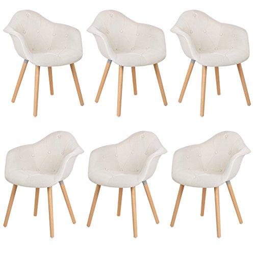 EUGAD 6er Set Esszimmerstühle Küchenstuhl Dick gepolsterte Sitzfläche aus Leinen Design Stuhl mit Arm- und Rücklehne