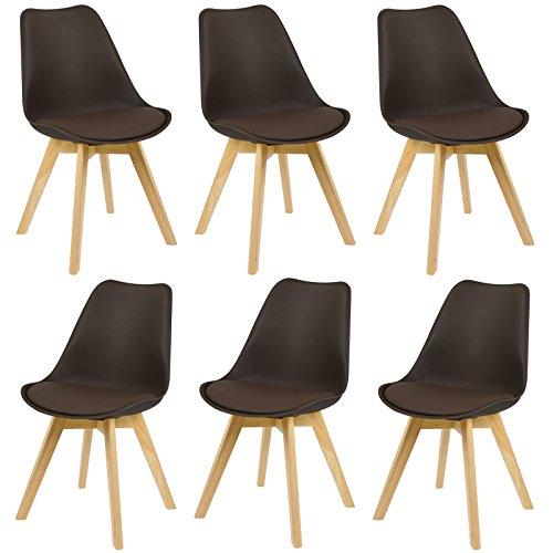 EUGAD 6er Set Esszimmerstühle Stuhlgruppe für Esszimmer Küchenstuhl mit Lehne aus Kunstleder/Leinen Holzgestell