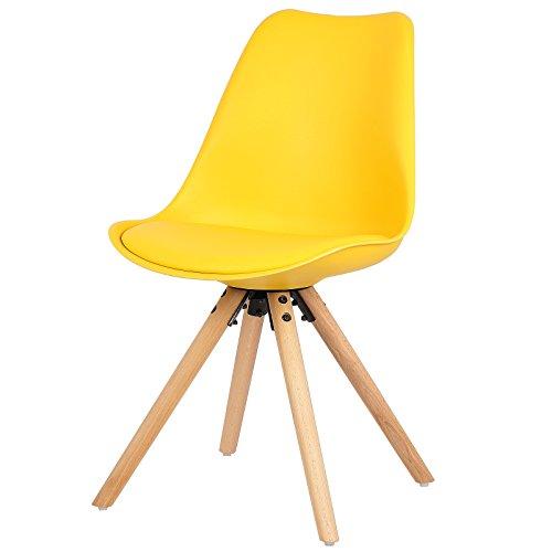 EUGAD Esszimmerstuhl Essstuhl Küchenstuhl, aus Massivholz und Kunstleder, 6 Farbe zur Auswahle e193