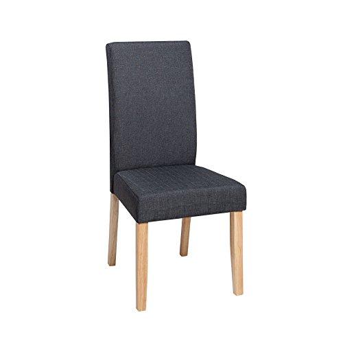 Edler Stuhl CHALET dunkelgrau Beine aus Massivholz Eiche Kolonial Esszimmerstuhl Stoffbezug