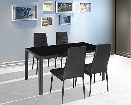 Esstisch Stuhl Set Essgruppe Tischgruppe Esstischgruppe Sitzgruppe Esszimmergarnitur: Schwarz Glas Metall Esstisch 4 Kunstleder Stuhl
