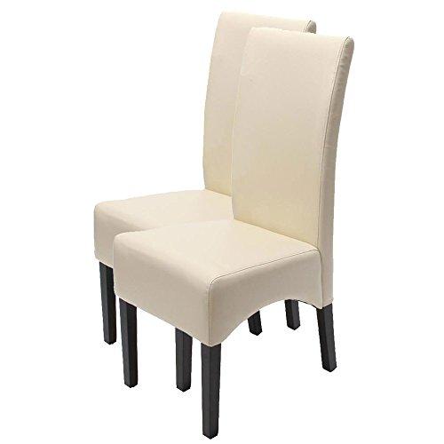 Esszimmerstuhl Lehnstuhl Stuhl Latina, LEDER ~ creme, dunkle Beine