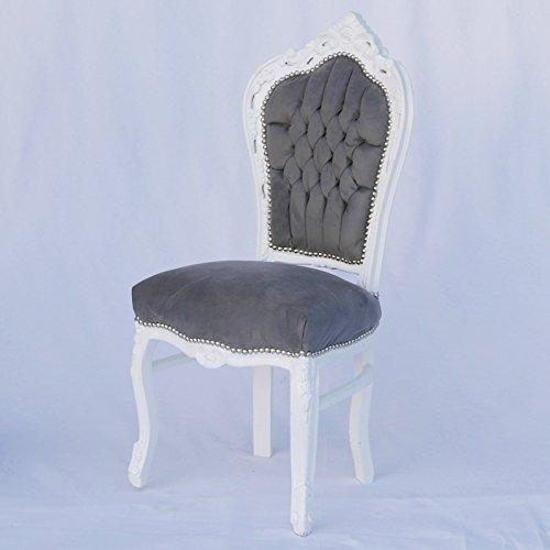 Esszimmerstuhl aus Massivholz mit weißem Rahmen und weichem Stoffbezug in grau