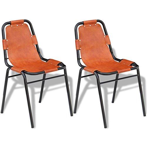 Festnight Esszimmerstühle 2 Stk. Essstühle Set aus Echtes Leder und lackiertes Küchenstuhl Stuhlset 59x44x89cm Esszimmer Stulgruppe Braun