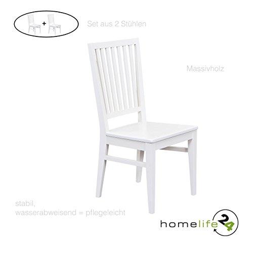 H24living Esszimmerstühle 2er Set Massiv-Holz Küchen-Stühle Doppelpack Holzstühle Landhaus-Stil Essstühle Natur-Produkt Design Stühle aus Echt-Holz in Altweiss Lackiert