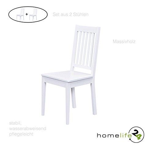 H24living Esszimmerstühle 2er Set Massiv-Holz Küchen-Stühle Doppelpack Holzstühle Landhaus-Stil Essstühle Natur-Produkt Design Stühle aus Echt-Holz in weiss Lackiert