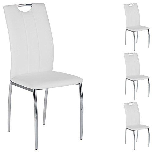 IDIMEX 4er SET Esszimmerstuhl Essgruppe APOLLO, Set mit 4 Stühlen in chrom, Lederimitat in weiß