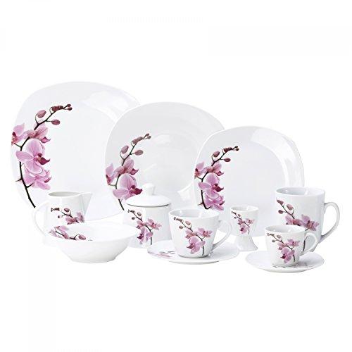kombiservice 62tlg kyoto orchidee leicht eckig porzellan fr 6 personen wei mit dekor 0. Black Bedroom Furniture Sets. Home Design Ideas
