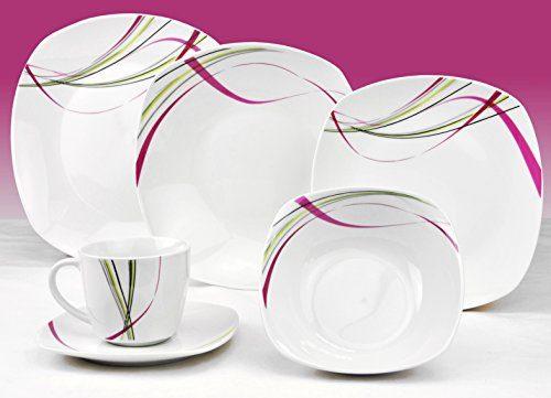 Kombiservice Fashion 62tlg. leicht eckig Porzellan für 6 Personen weiß mit Liniendekor