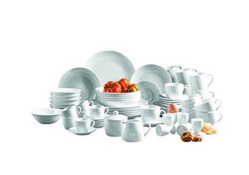 MÄSER Serie Alesia, Porzellan Kombiservice 62-teilig, Basic Geschirr für 6 Personen, das perfekte Starterset