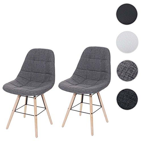 Mendler 2X Esszimmerstuhl HWC-A60 II, Stuhl Lehnstuhl, Retro 50er Jahre Design ~ Textil Grau