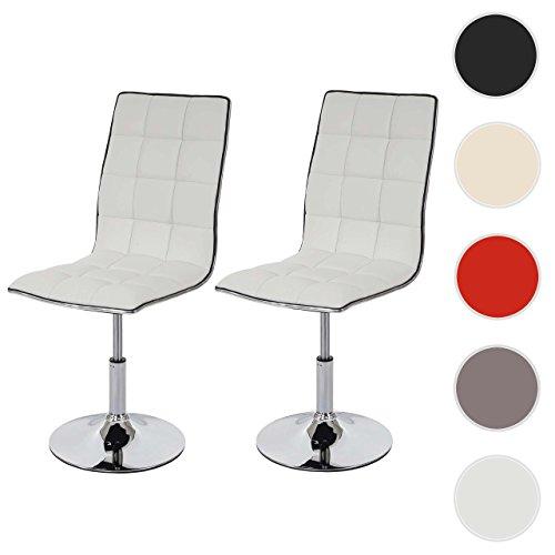 Mendler 2X Esszimmerstuhl HWC-C41, Stuhl Lehnstuhl, Höhenverstellbar Drehbar, Kunstleder ~ Weiß