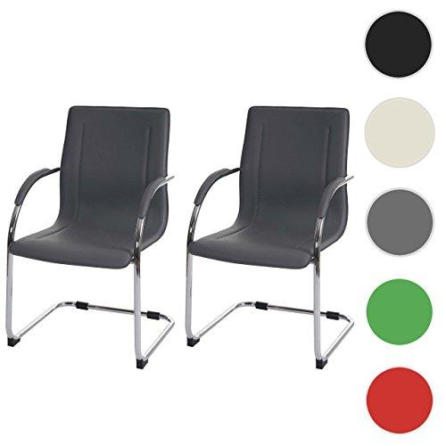 mendler 2x konferenzstuhl samara besucherstuhl freischwinger pvc grau esszimmerst. Black Bedroom Furniture Sets. Home Design Ideas