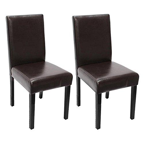 mendler 2x esszimmerstuhl stuhl lehnstuhl littau leder braun dunkle beine esszimmerst. Black Bedroom Furniture Sets. Home Design Ideas