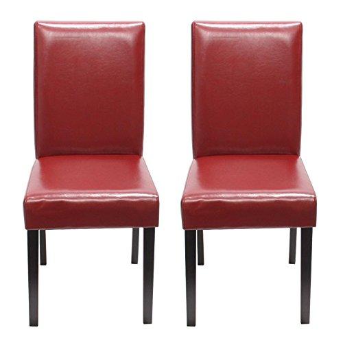 Mendler 2x Esszimmerstuhl Stuhl Lehnstuhl Littau ~ Leder, rot, dunkle Beine