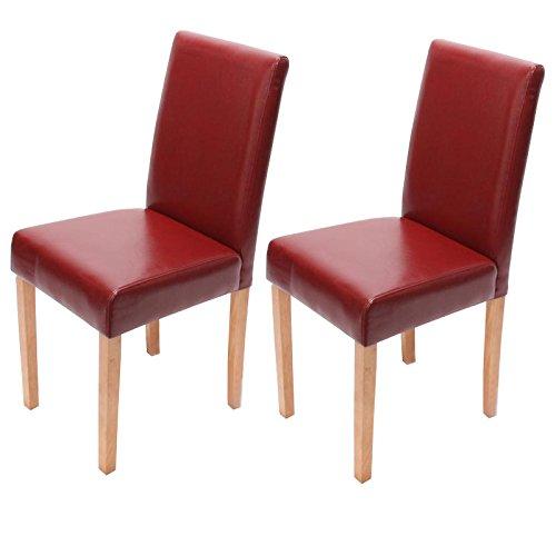 Mendler 2x Esszimmerstuhl Stuhl Lehnstuhl Littau ~ Leder, rot, helle Beine