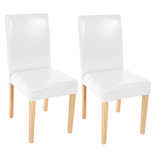 Mendler 2x Esszimmerstuhl Stuhl Lehnstuhl Littau ~ Leder, weiß, helle Beine
