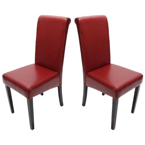 Mendler 2x Esszimmerstuhl Stuhl Lehnstuhl Novara II, Leder ~ rot, dunkle Beine