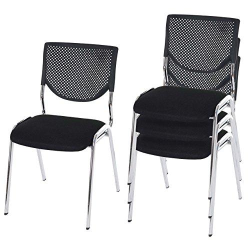 Mendler 4X Besucherstuhl T401, Konferenzstuhl stapelbar, Textil ~ Sitz Schwarz, Füße Chrom