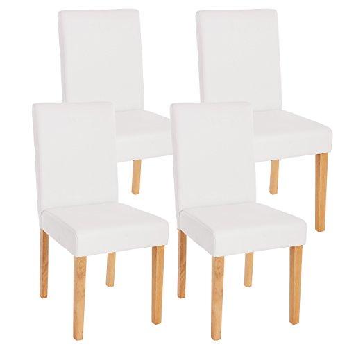 Mendler 4x Esszimmerstuhl Stuhl Lehnstuhl Littau ~ Kunstleder, weiß matt, helle Beine