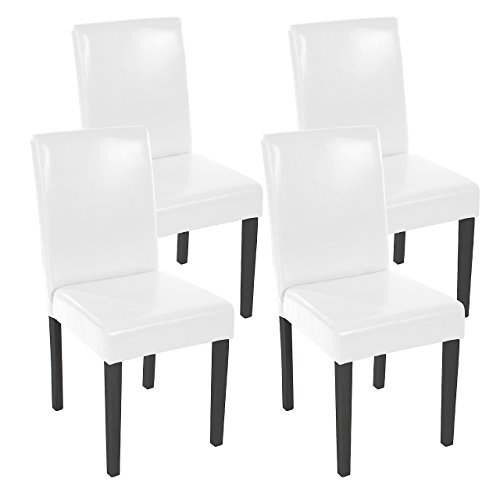 Mendler 4x Esszimmerstuhl Stuhl Lehnstuhl Littau ~ Leder, weiß dunkle Beine