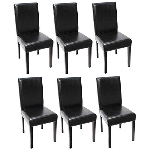 mendler 6x esszimmerstuhl stuhl lehnstuhl littau leder schwarz dunkle beine 0 esszimmerst. Black Bedroom Furniture Sets. Home Design Ideas