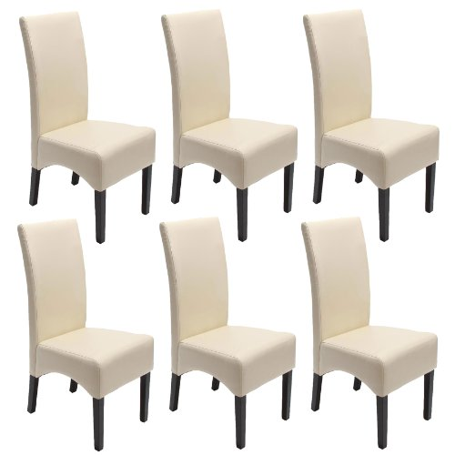 mendler 6x esszimmerstuhl lehnstuhl stuhl latina leder creme dunkle beine esszimmerst. Black Bedroom Furniture Sets. Home Design Ideas