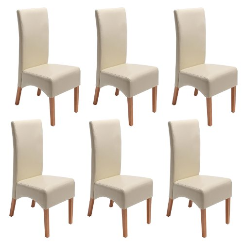 mendler 6x esszimmerstuhl lehnstuhl stuhl latina leder creme helle beine esszimmerst. Black Bedroom Furniture Sets. Home Design Ideas