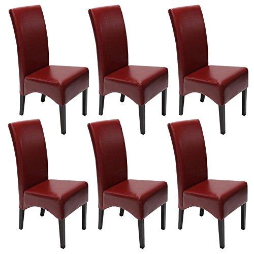 Mendler 6x Esszimmerstuhl Lehnstuhl Stuhl Latina, LEDER ~ rot, dunkle Beine