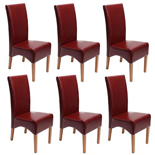 Mendler 6x Esszimmerstuhl Lehnstuhl Stuhl Latina, LEDER ~ rot, helle Beine