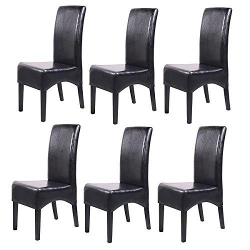Mendler 6x Esszimmerstuhl Lehnstuhl Stuhl Latina, LEDER ~ schwarz, dunkle Beine